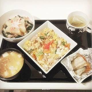 鰆のホイル焼き 大根のカニカマ餡掛け 豚とじ丼(ふるさと納税 at.2018!の豚) 納豆汁