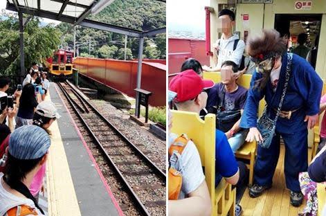 左:トロッコ列車待ち 右:保津峡の鬼 酒飲童子