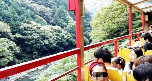 保津川の渓流沿いにトロッコ列車が走る