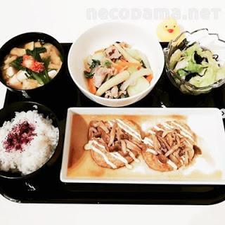 きのこの和風豆腐バーグ 八宝菜的な中華炒め チョレギサラダ にらとキムチのお味噌汁