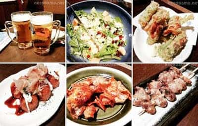 シーザーサラダ・ちくわの磯辺揚げ・揚げたこ焼き・バリ辛鶏皮・焼き鳥ハツ