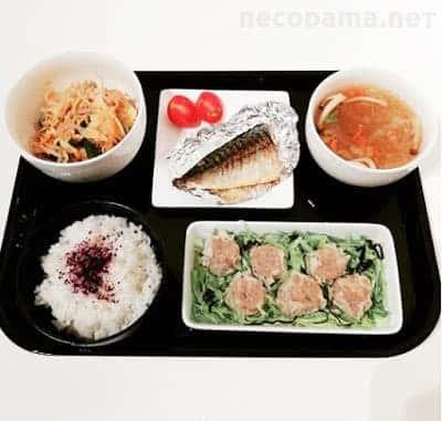 塩サバ 豚キムチ しゅうまい 中華春雨スープ