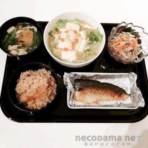 塩サバ 豆腐とレタスのとろみ卵スープ 水菜ともやしのナムル 韮とキムチのお吸い物 大根飯