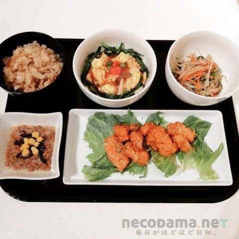 イカマヨ カニ玉韮あんかけ 水菜ともやしのナムル コーンポン酢納豆 大根飯