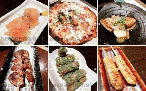 夜 : チェーンの均一焼き鳥居酒屋 鶏ハム・ピザ・揚げ茄子のおろしがけ・ハツ塩焼き・ちくわ磯辺揚げ・つくねチーズ