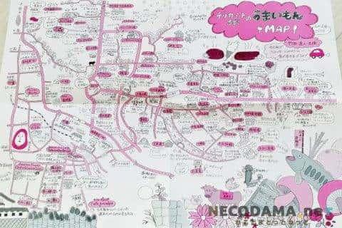 大分県竹田市のふるさと納税 ハーブ鶏肉:手書きの近隣MAPが地域愛を感じます