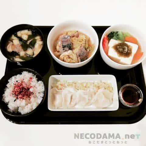 えびの水餃子 ゴマポン酢 小松菜の出汁湯豆腐 納豆と玉ねぎのお味噌汁 白菜とサバ缶の旨煮