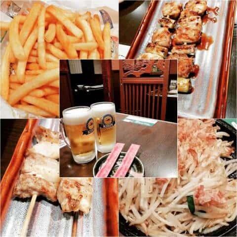 チーズポテト・もも串焼き・豚バラ串焼き・もやし炒め・大ジョッキ発泡酒