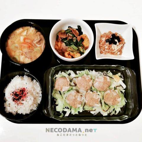 キムチ豚汁 小松菜と薄揚げのカレー炒め エノキ納豆 肉焼売
