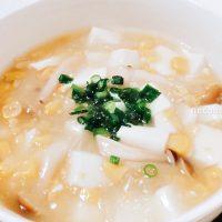 コーン缶と豆腐でとろとろコーンスープ