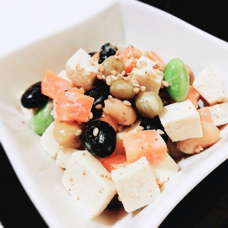 食感が楽しい 高野豆腐と大豆のごまサラダ