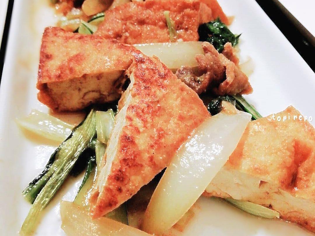 食欲そそる*小松菜と厚揚げみそカレー炒め