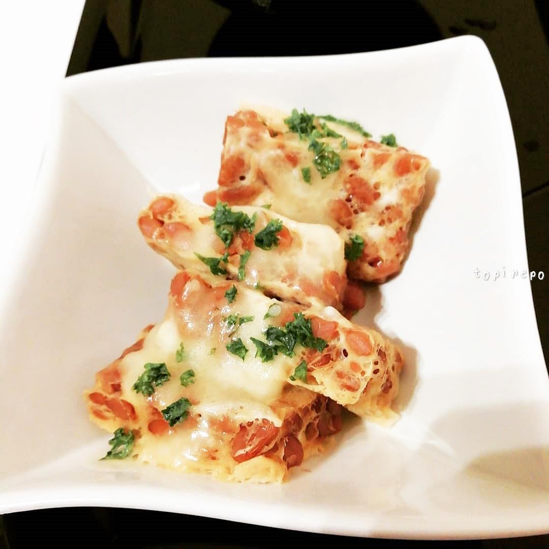 レンジで作る 食べやすいチーズ納豆卵焼き