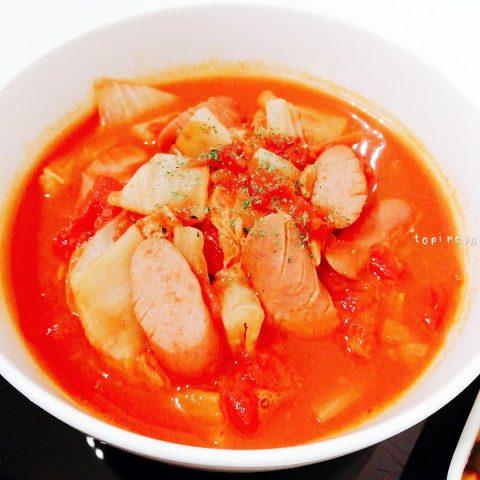トマト缶を丸ごと 白菜のトマト缶煮込み
