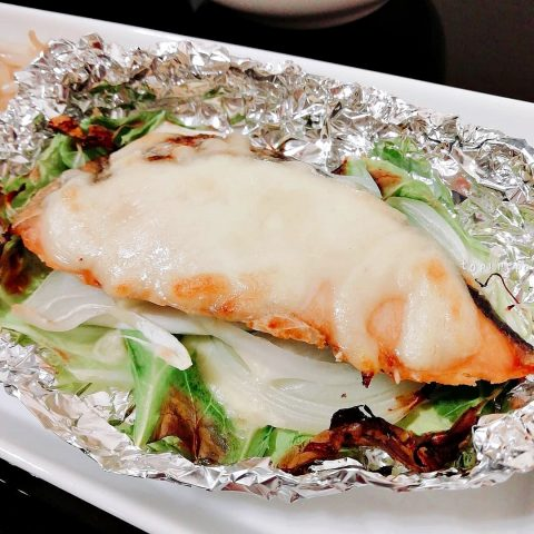 グリルにおまかせ 鮭の味噌チーズホイル焼