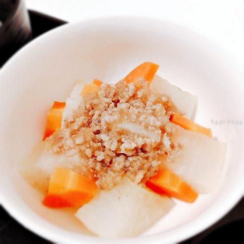 フライパンで作る 根菜のそぼろ餡かけ
