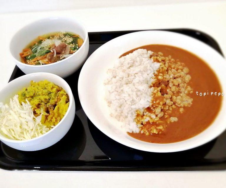納豆カレー・小松菜と春雨の中華スープ献立