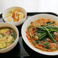 韮麻婆春雨・豆苗の卵スープ献立*開放の日