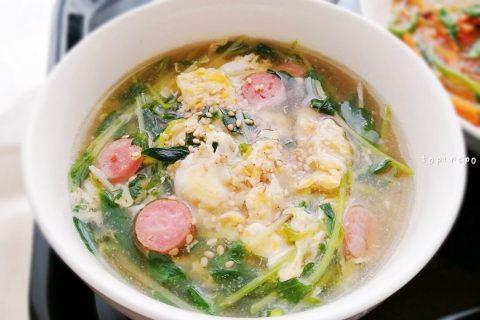 豆苗とかき卵中華スープ
