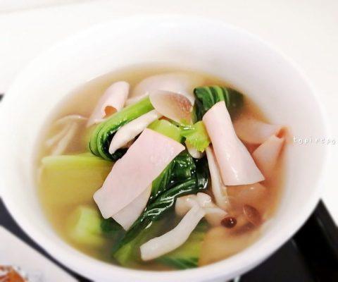 青梗菜とハムのとろみスープ