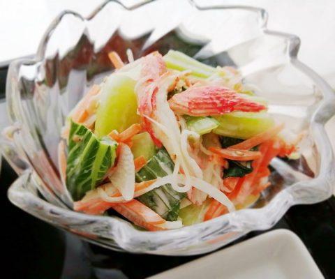 青梗菜とかにかまの胡麻マヨサラダ