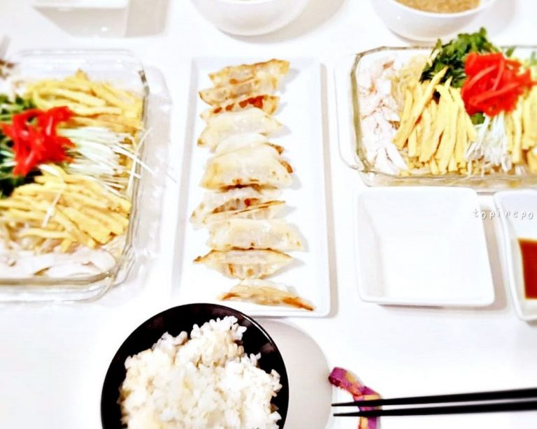 蒸し鶏冷やし中華の夫飯