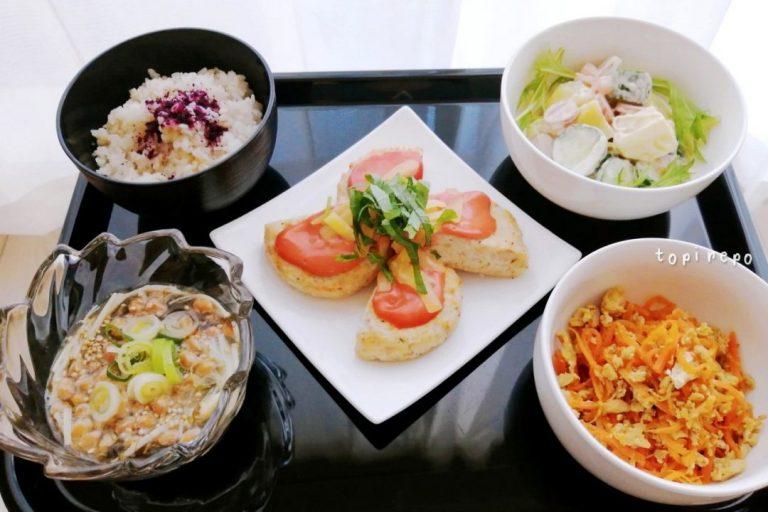 ごろごろポテサラ&豆腐バーグほかの晩ごはん