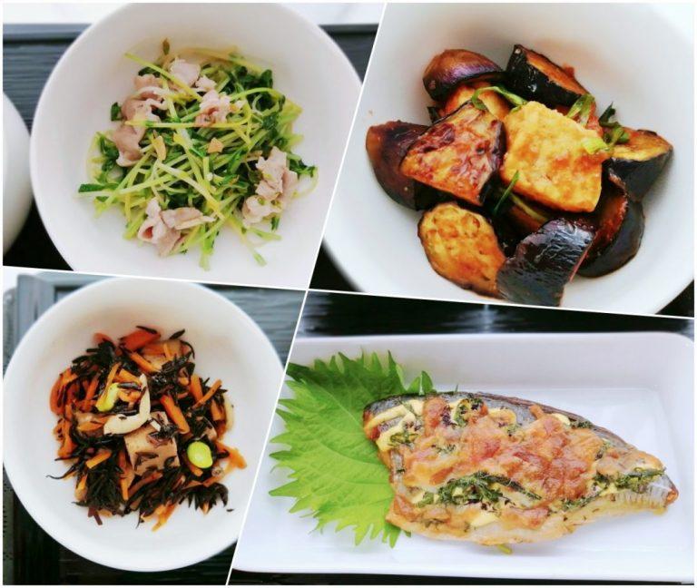 豚バラと豆苗のにんにく炒め / 茄子と焼き豆腐の甘酢炒め / ひじきと高野豆腐の三色煮 / 鯵の大葉チーズ焼