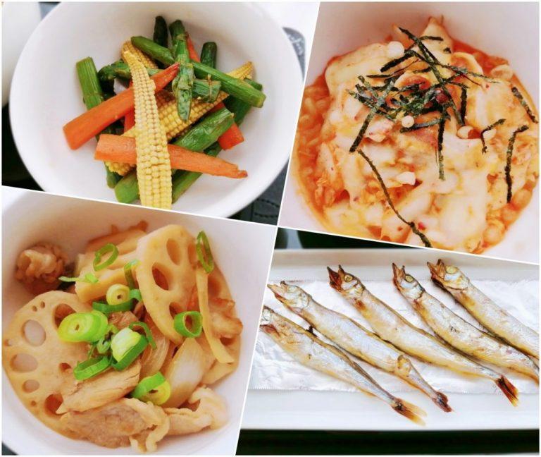 左上から アスパラとヤングコーンのオイスター炒め / キムチーズ豆腐 / 豚肉と蓮根のさっぱり照煮 / 子持ちししゃも