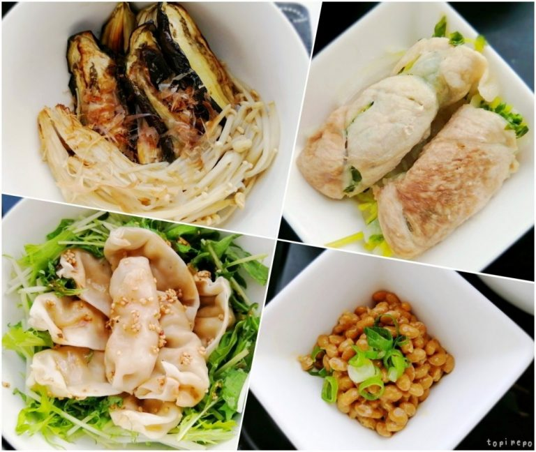 左上から えのきと茄子の焼きポン / 大根と豆苗の豚巻き蒸し / 胡麻だれ水餃子 / 葱納豆