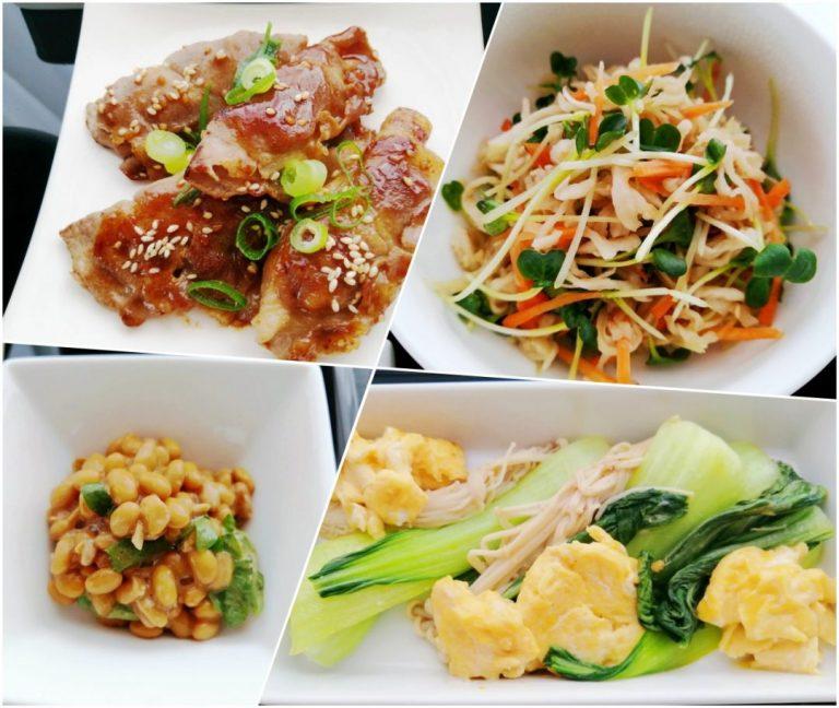 左上から 豚包み甘辛焼き / 切干大根の中華和え / 梅酢納豆 /青梗菜とえのきの卵炒め