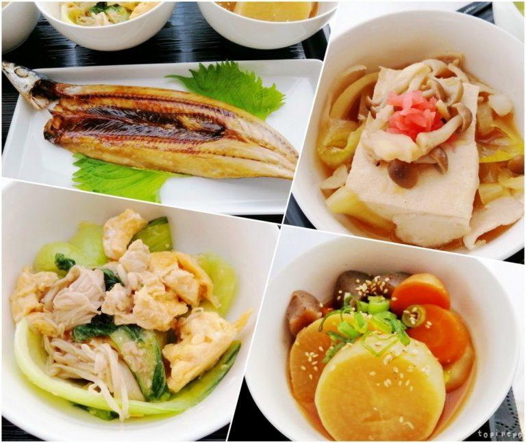 左上から サンマ開き / 肉豆腐 / 青梗菜の卵炒め / 大根のオイスター煮