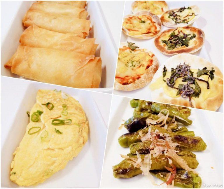 左上から 春巻き / 餃子皮ピザ / だし巻きオムレツ / ししとう焼