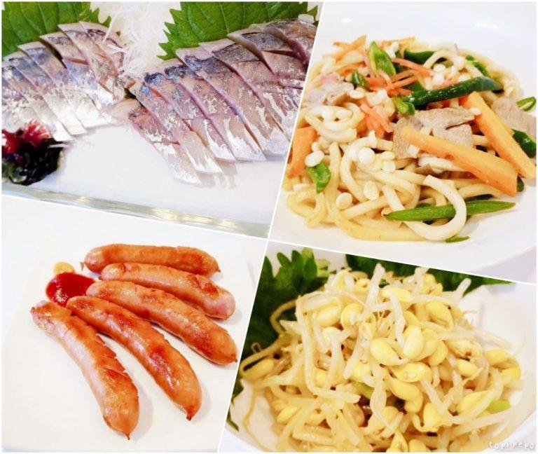 左上から しめ鯖 / 焼きうどん / ウインナー / 豆もやしナムル