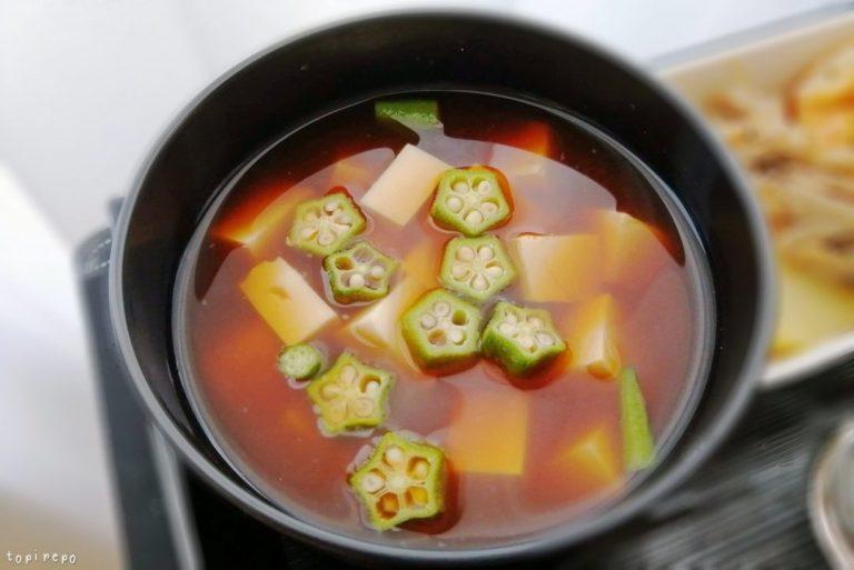 豆腐とオクラのみそ汁@夕食ネット