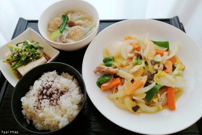 八宝菜・ビーフンスープ@夕食ネットのつくレポ