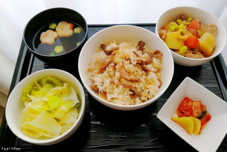 和食: 松茸釜めし・肉じゃが他の晩ごはん