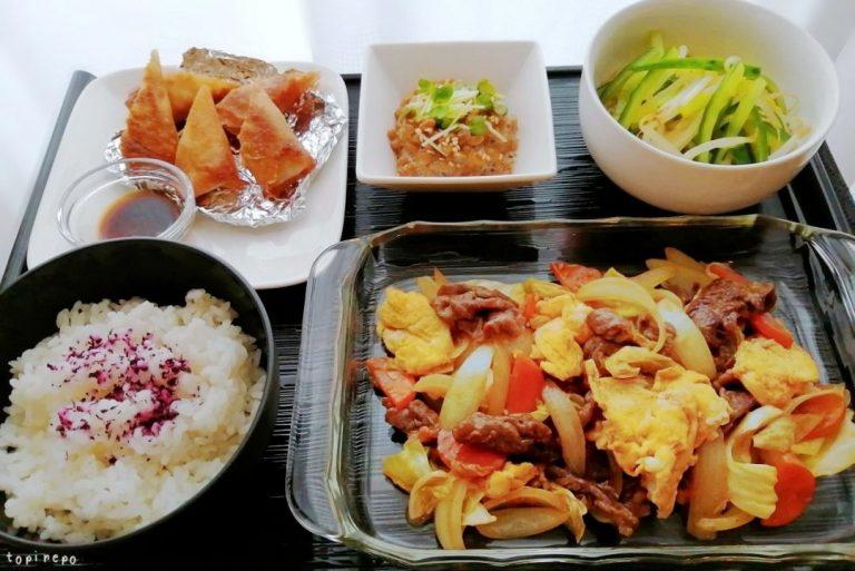中華: 牛肉と卵のXO醤炒めほかの晩ごはん