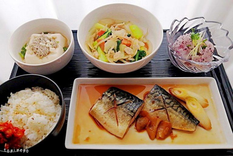 和食: さばの生姜煮&鶏そぼろ炒めの晩ごはん