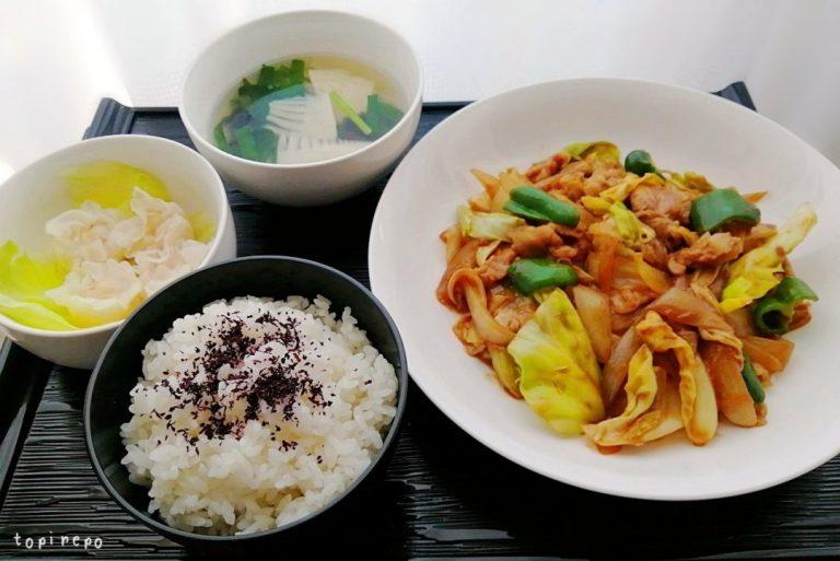 回鍋肉&エビ焼売・筍スープの中華膳