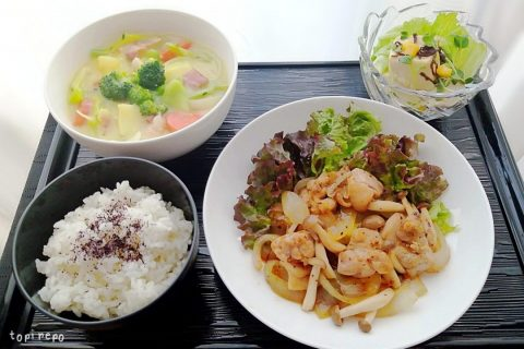 日南鶏の黒胡椒焼き&コーンシチュー