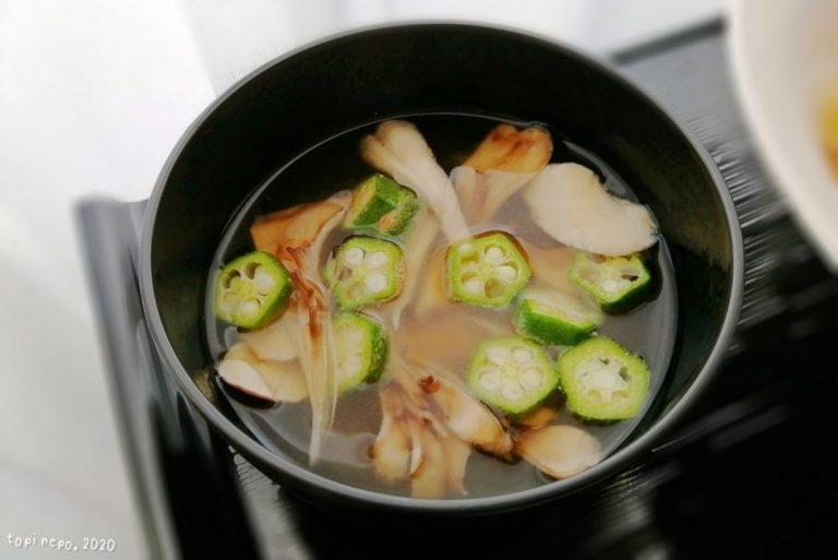 舞茸とオクラのお味噌汁@夕食ネット