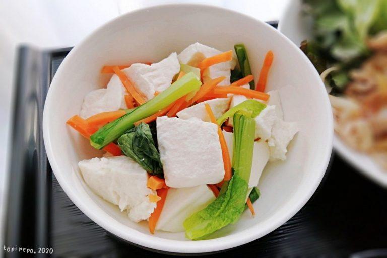 くずし豆腐の三色あえ