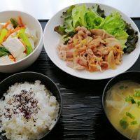 生姜焼き&くずし豆腐の三色あえ