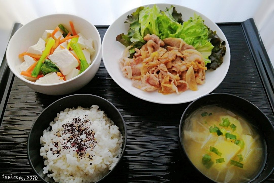 生姜焼き&くずし豆腐の三色あえの晩ごはん