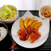 鶏竜田&かぼちゃ揚げ・こんにゃく土佐煮の晩ごはん