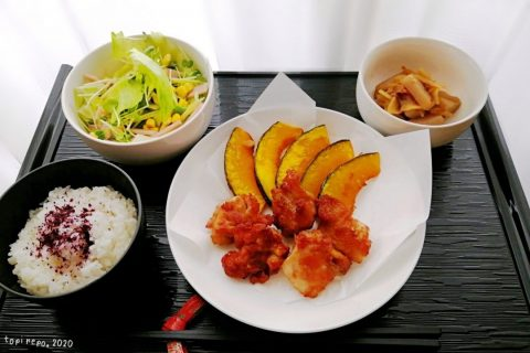 鶏竜田&かぼちゃ揚げ・こんにゃく土佐煮