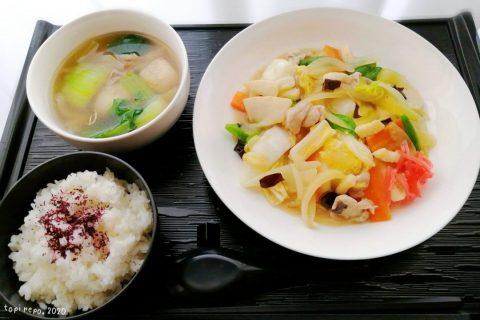 八宝菜&エビボール入りスープの中華定食