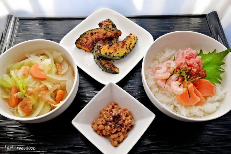 海鮮丼&黒ごまかぼちゃ・あっさり煮の晩ごはん