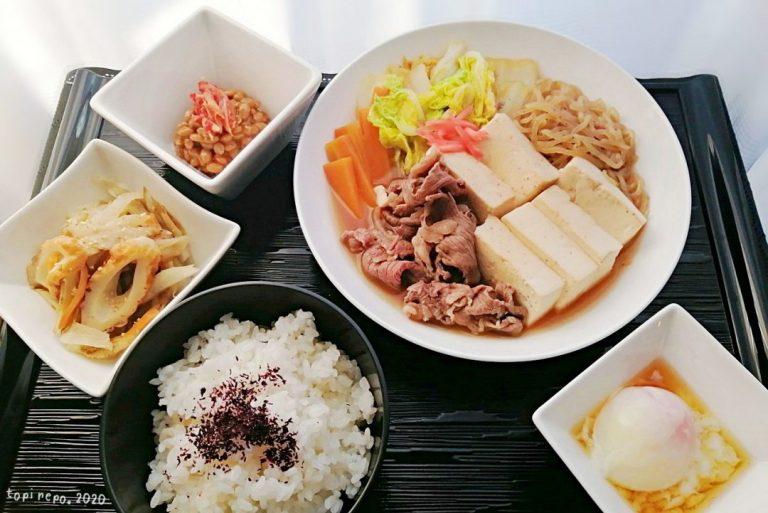 温玉つき肉豆腐のすき煮&塩きんぴらの晩ごはん